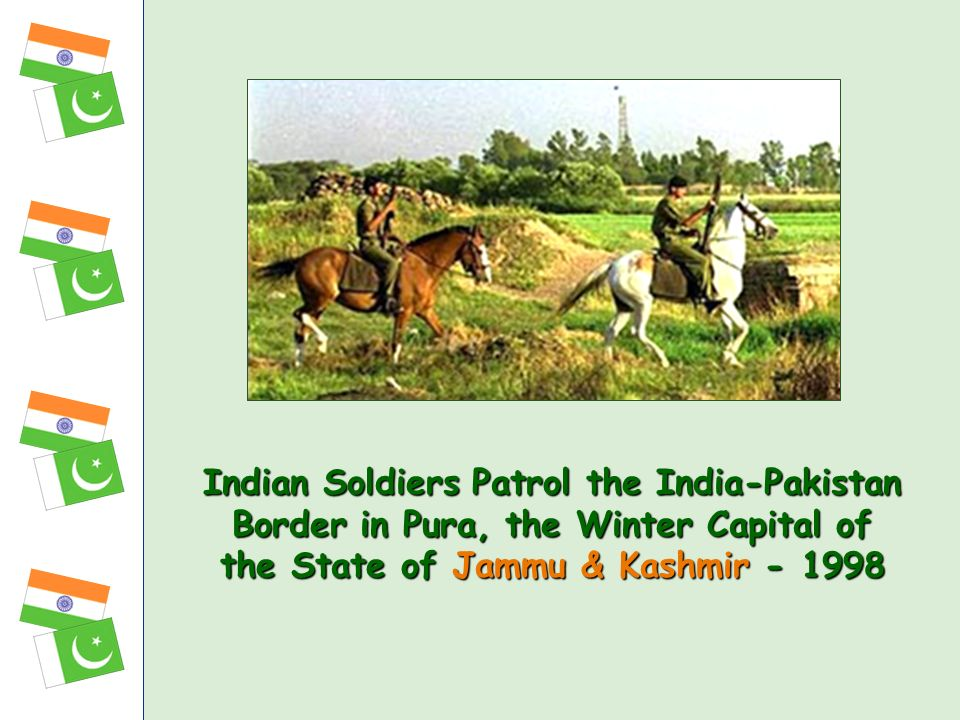 Indian Soldiers Patrol the India-Pakistan Border in Pura, the Winter Capital of the State of Jammu & Kashmir - 1998