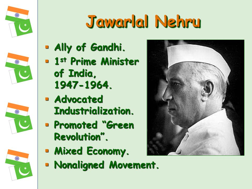 Jawarlal Nehru Ally of Gandhi. 1st Prime Minister of India,