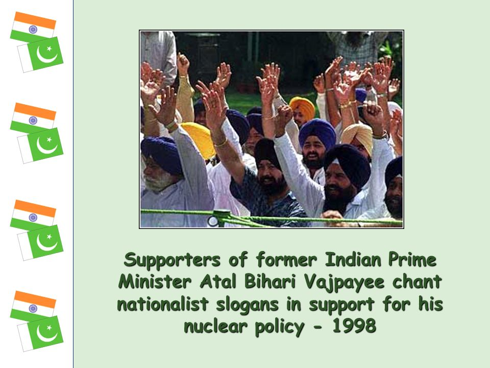 Supporters of former Indian Prime Minister Atal Bihari Vajpayee chant nationalist slogans in support for his nuclear policy - 1998