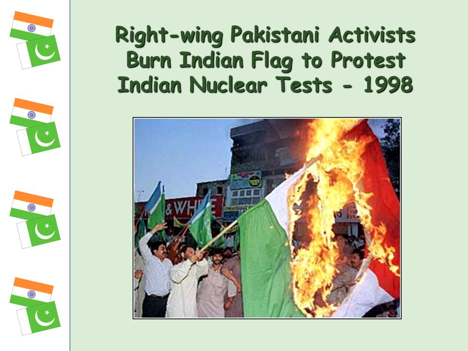 Right-wing Pakistani Activists Burn Indian Flag to Protest Indian Nuclear Tests - 1998