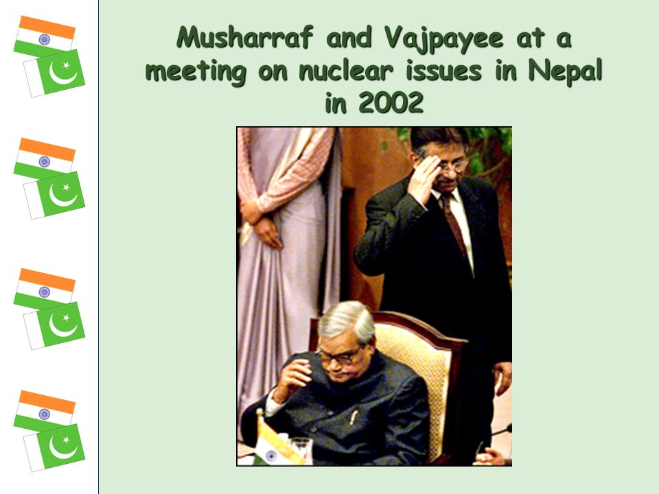 Musharraf and Vajpayee at a meeting on nuclear issues in Nepal in 2002