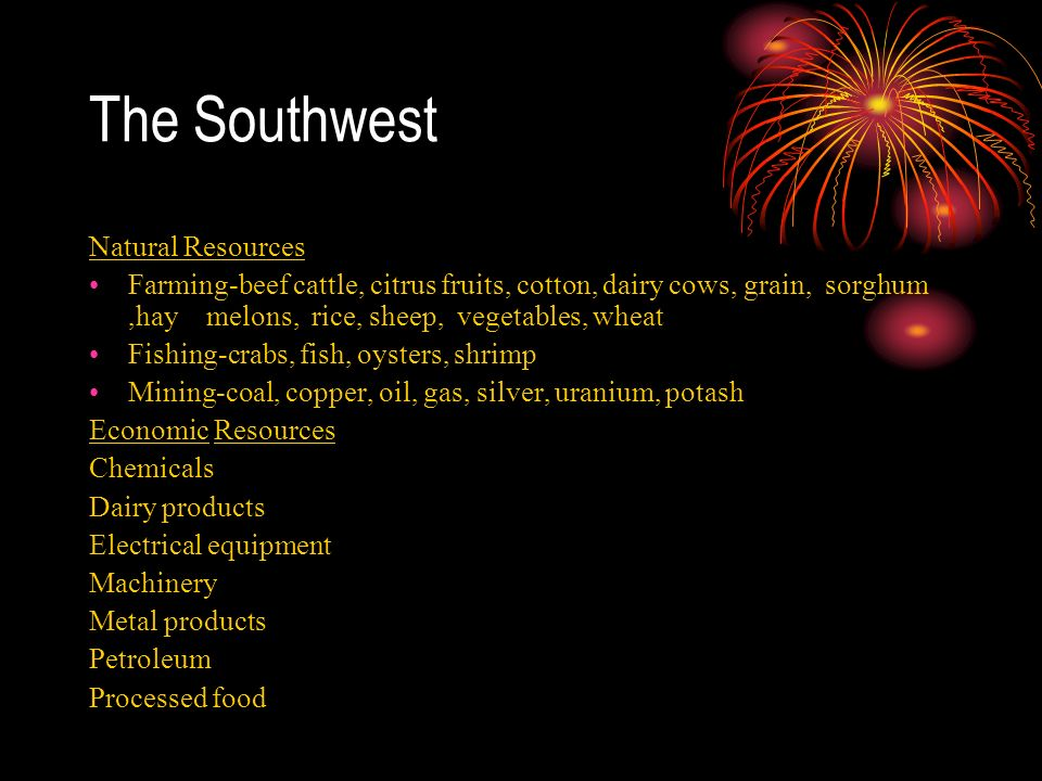 What Are Three Natural Resources In The Southwest Region