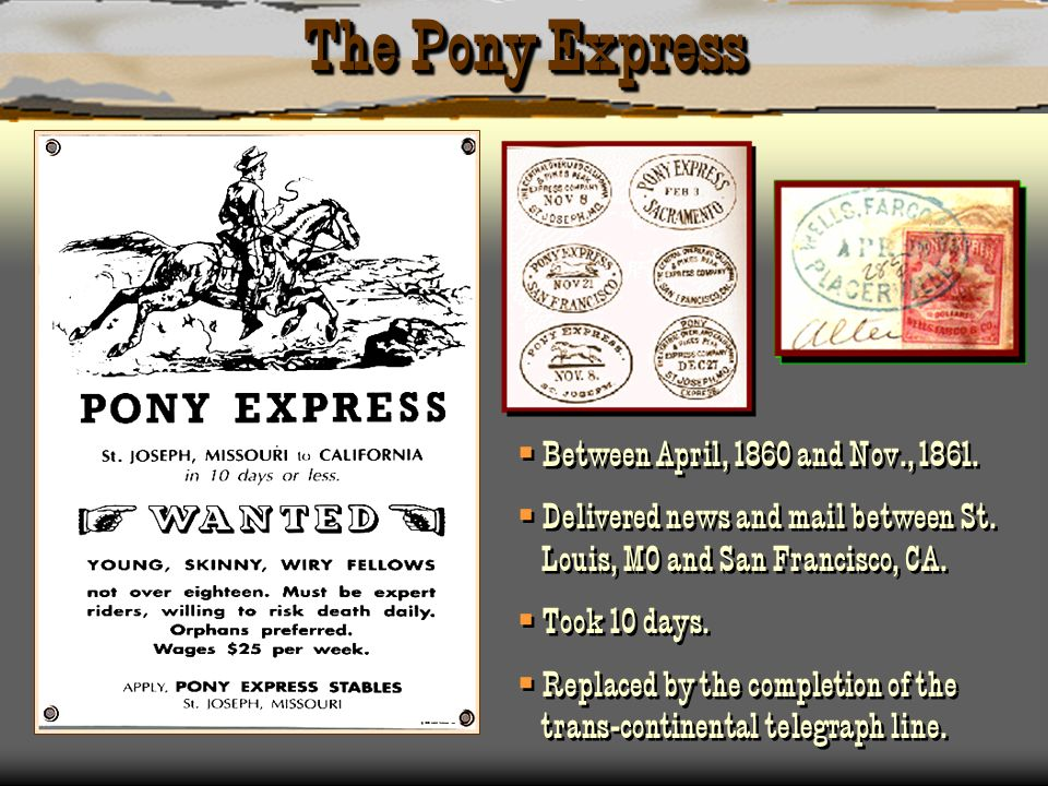 The Pony Express Between April, 1860 and Nov., 1861.