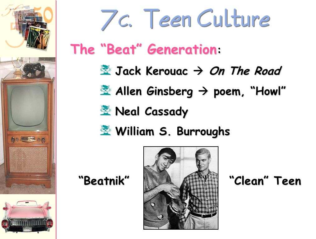 7C. Teen Culture The Beat Generation: Beatnik Clean Teen