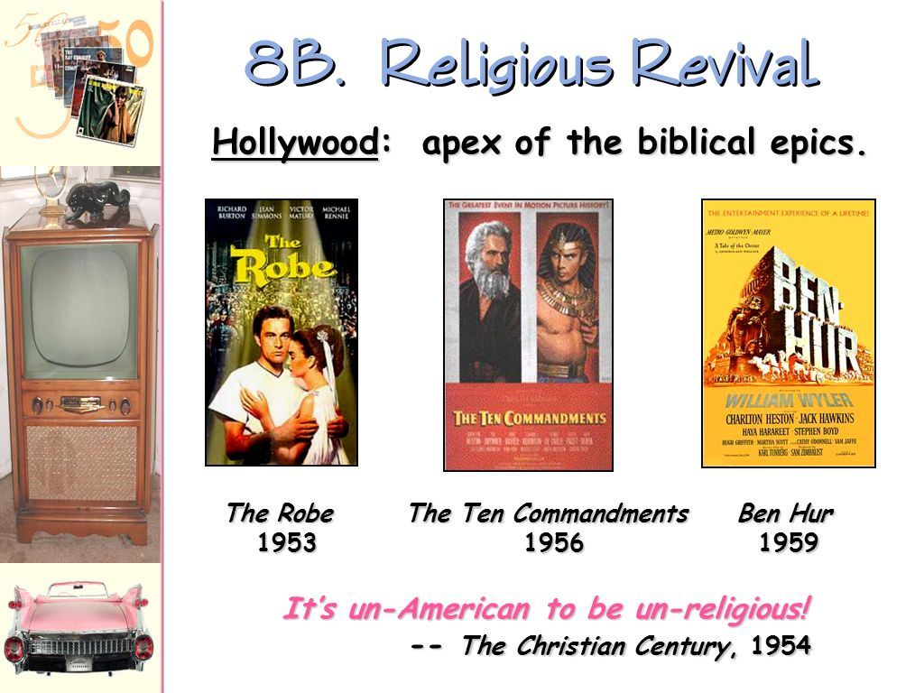 8B. Religious Revival Hollywood: apex of the biblical epics.