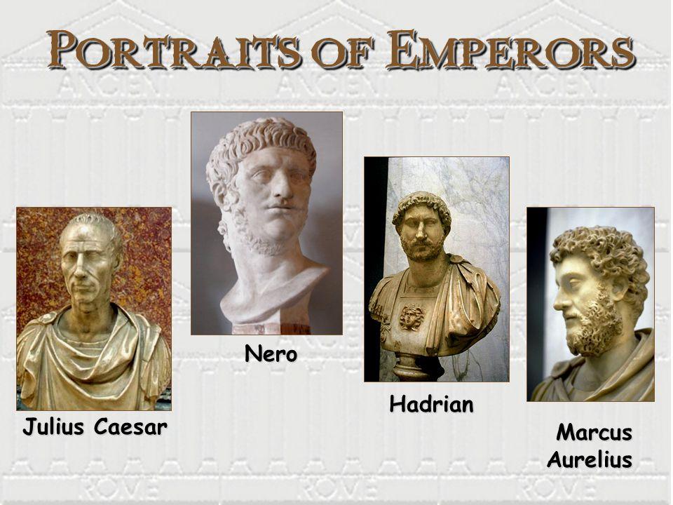 Portraits of Emperors Nero Hadrian Julius Caesar Marcus Aurelius