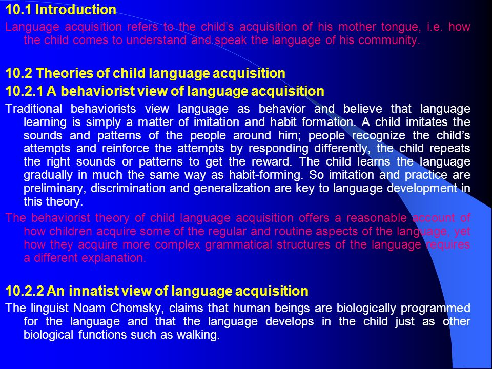 10.2 Theories of child language acquisition