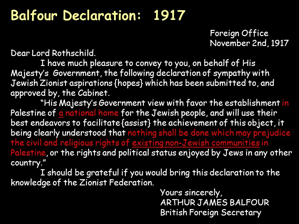Balfour Declaration: 1917 Foreign Office November 2nd, 1917