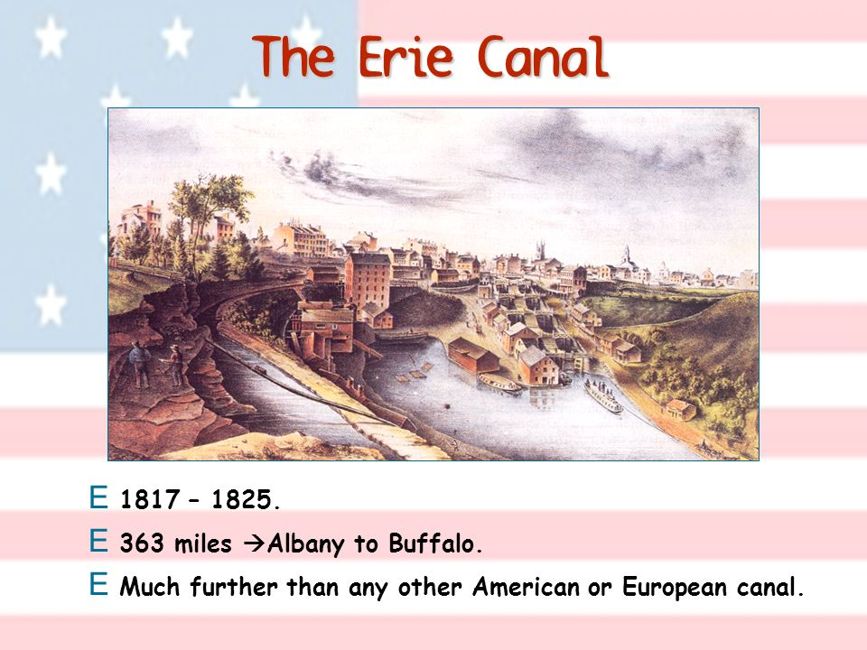 The Erie Canal 1817 – 1825. 363 miles Albany to Buffalo.