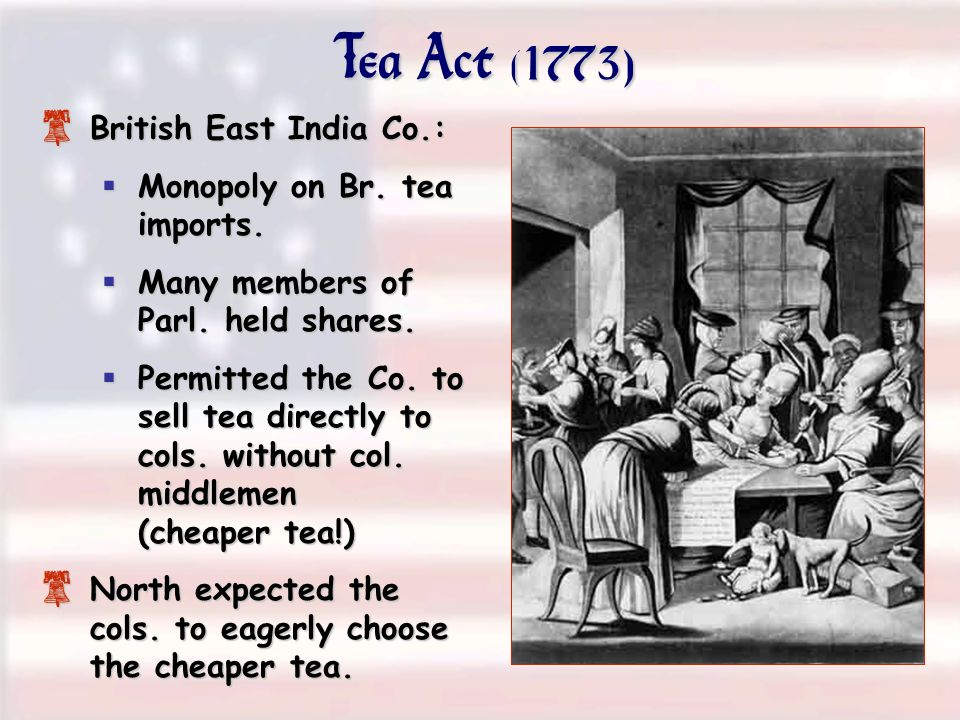 Tea Act (1773) British East India Co.: Monopoly on Br. tea imports.