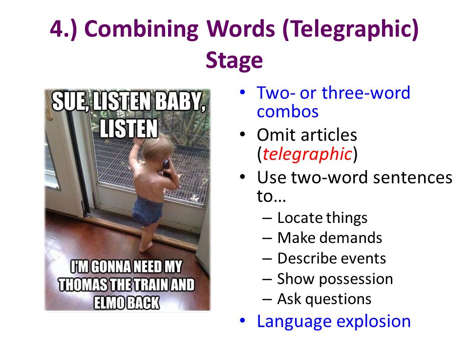 4.) Combining Words (Telegraphic) Stage
