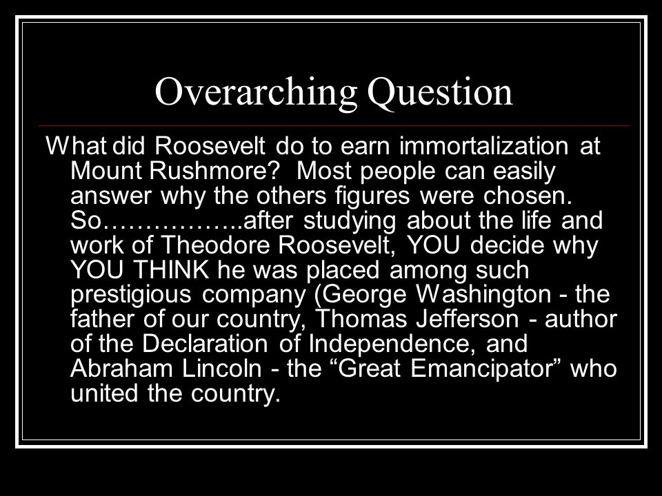 Overarching Question