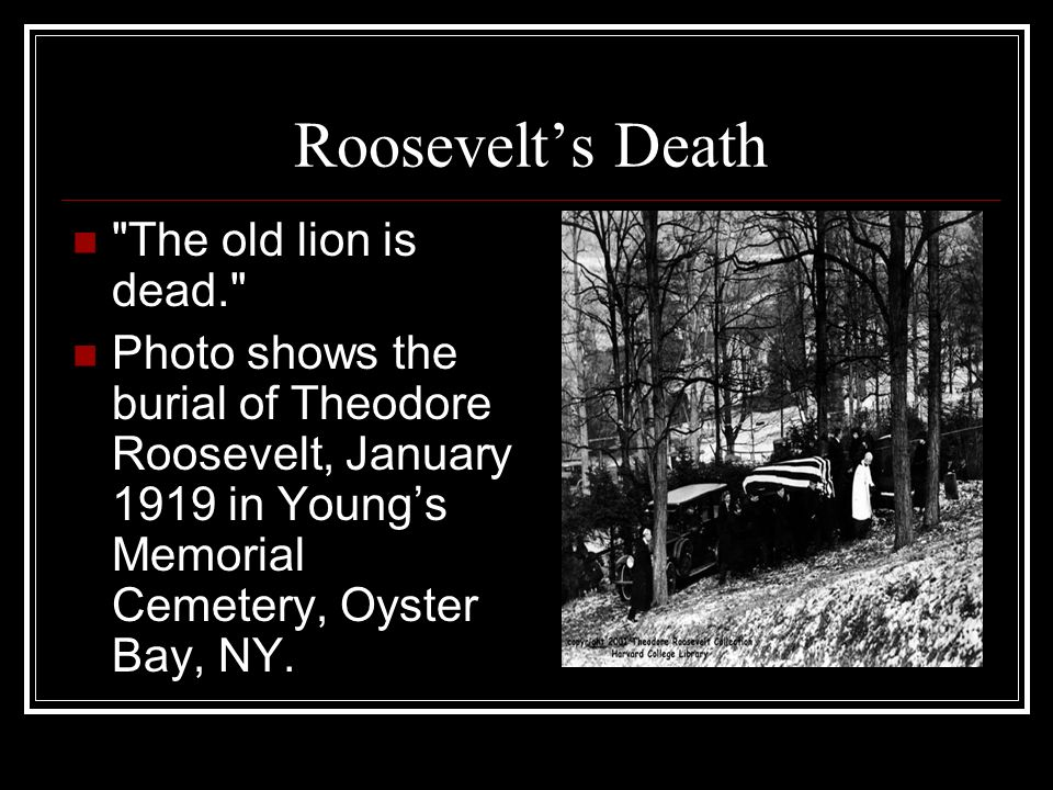 Roosevelt's Death The old lion is dead.