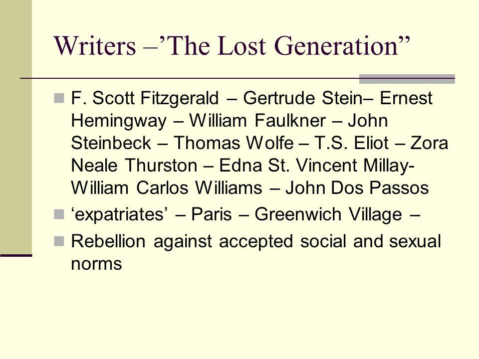 Writers –'The Lost Generation