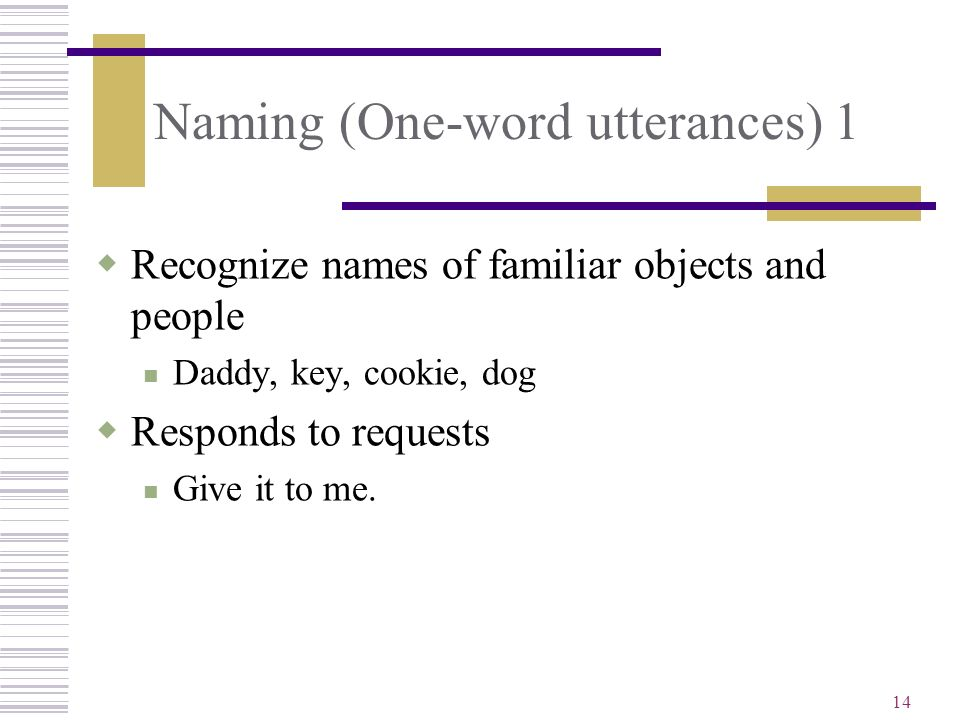 Naming (One-word utterances) 1