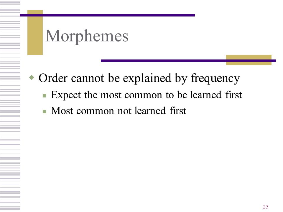 Morphemes Order cannot be explained by frequency