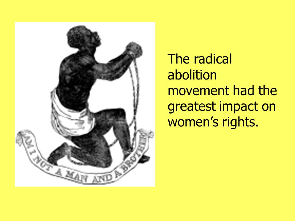 The radical abolition movement had the greatest impact on women's rights.