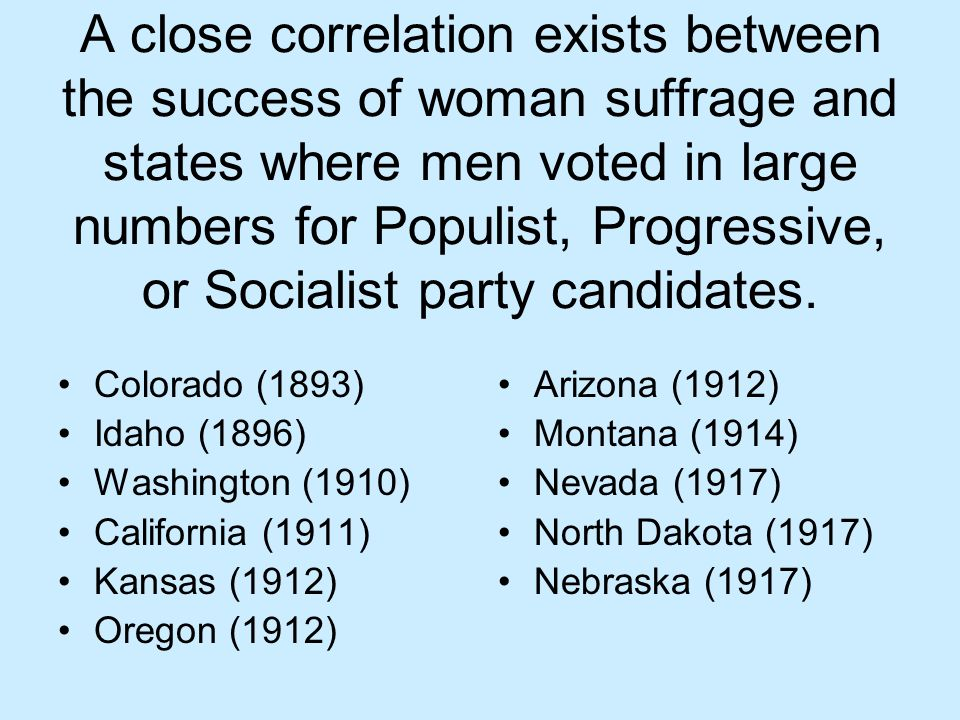 A close correlation exists between the success of woman suffrage and states where men voted in large numbers for Populist, Progressive, or Socialist party candidates.