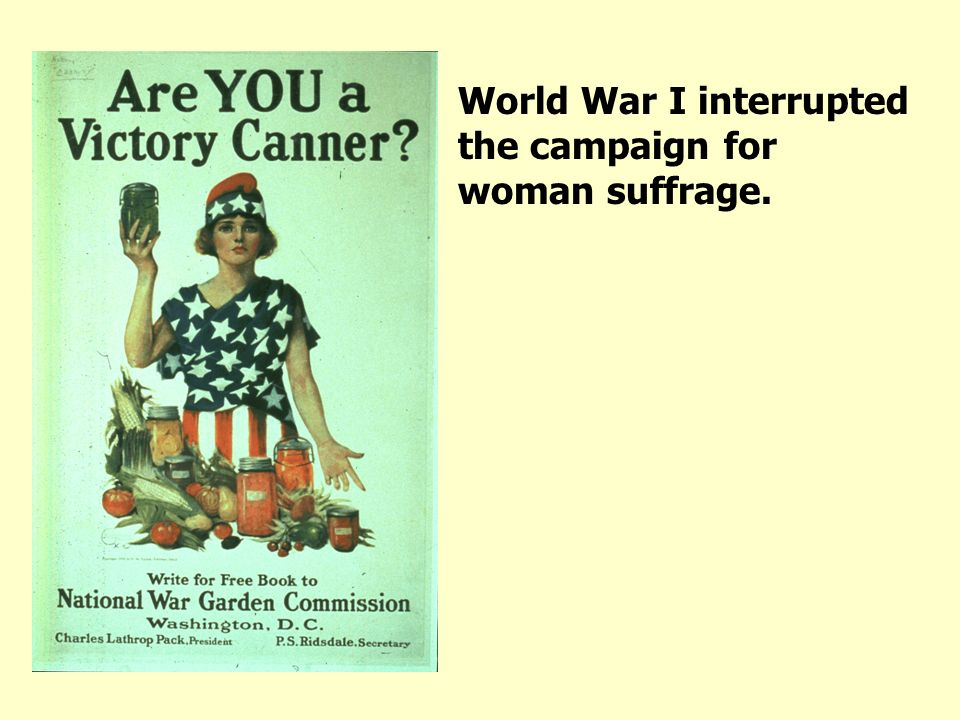 World War I interrupted the campaign for woman suffrage.