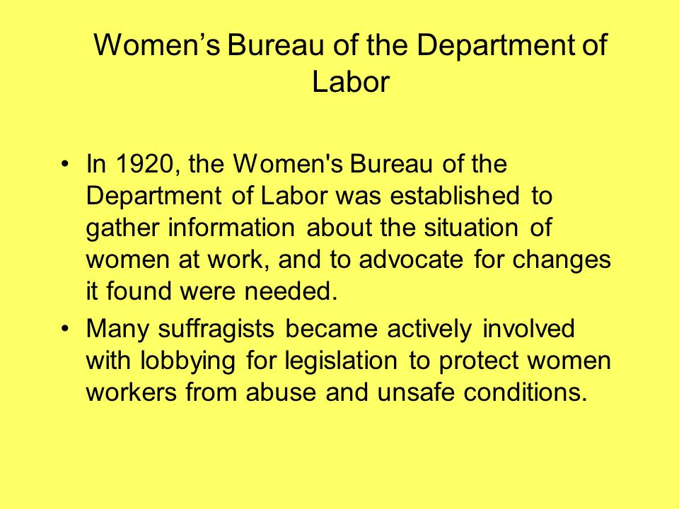 Women's Bureau of the Department of Labor