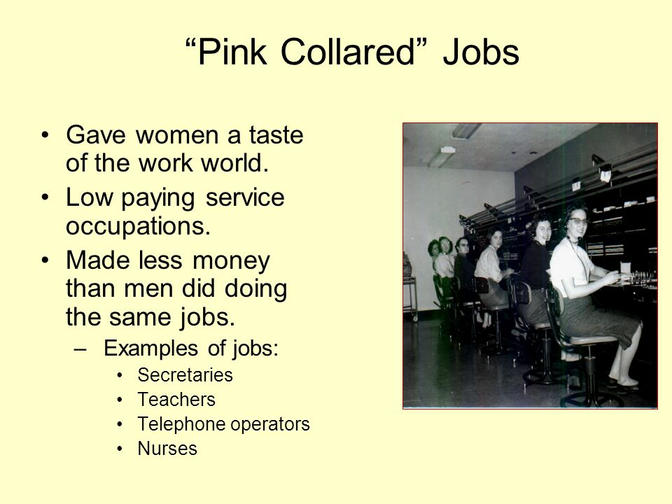 Pink Collared Jobs Gave women a taste of the work world.