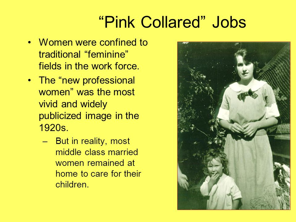 Pink Collared Jobs Women were confined to traditional feminine fields in the work force.