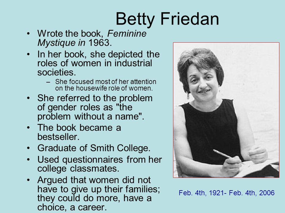 Betty Friedan Wrote the book, Feminine Mystique in 1963.