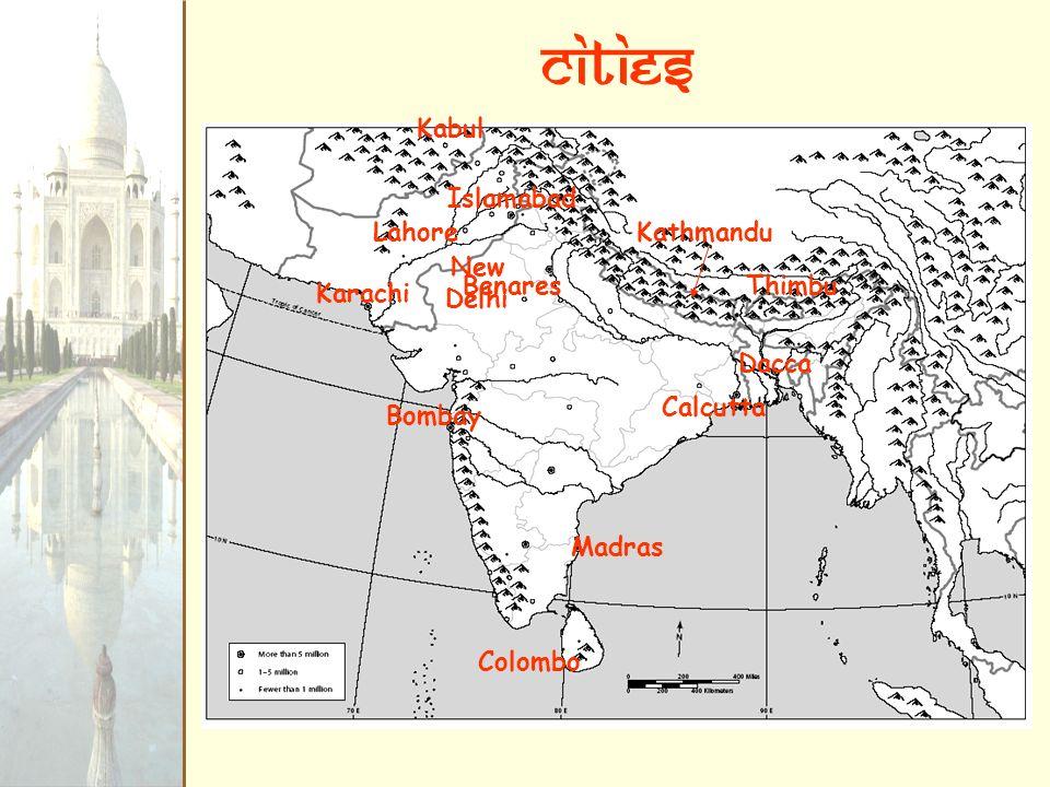 cities Kabul Islamabad Lahore Kathmandu New Delhi Benares Thimbu