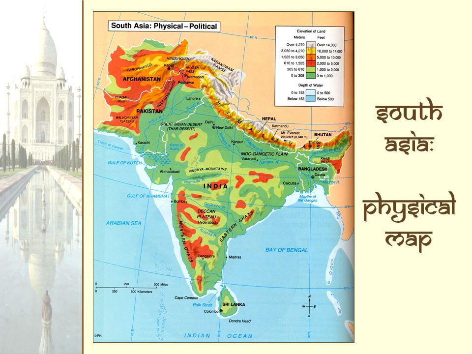 South Asia: Physical Map