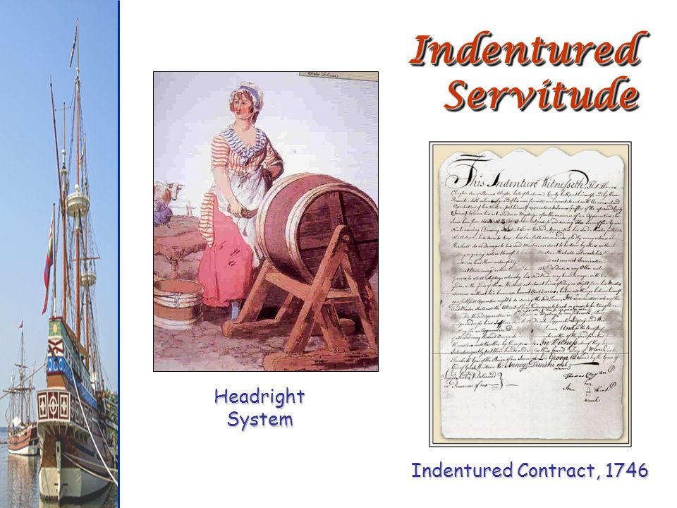 Indentured Servitude Headright System Indentured Contract, 1746
