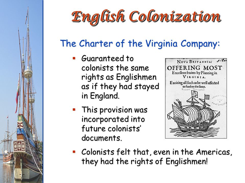 English Colonization The Charter of the Virginia Company: