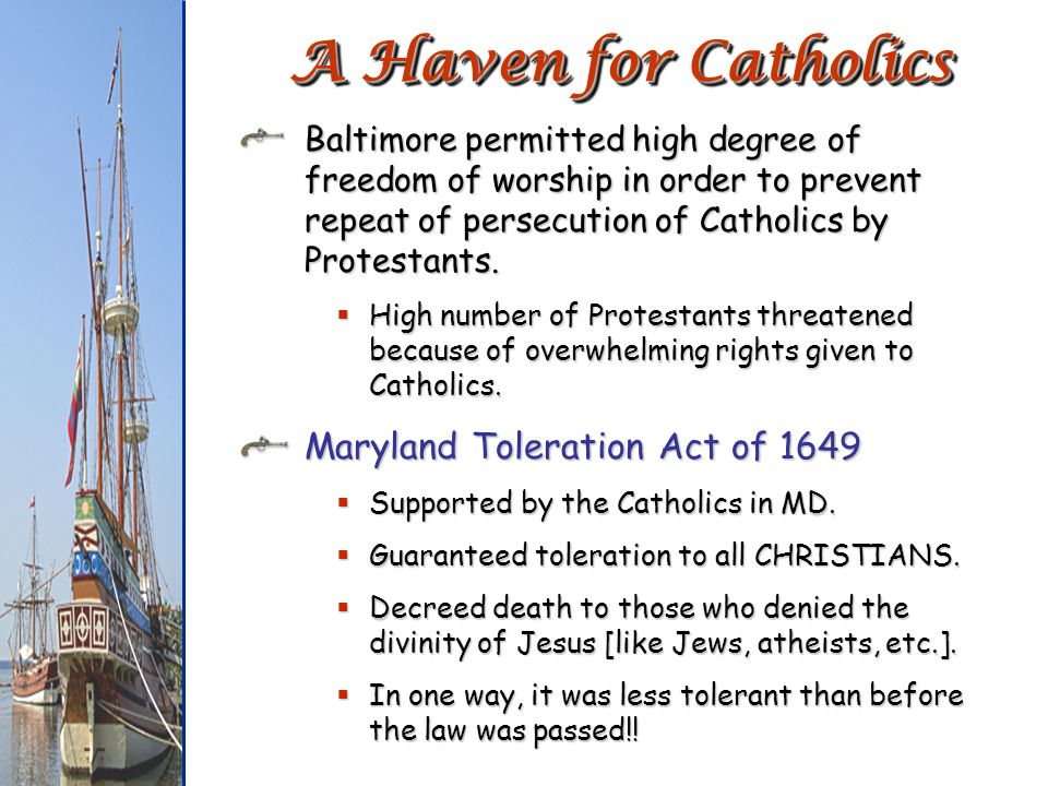 A Haven for Catholics Maryland Toleration Act of 1649