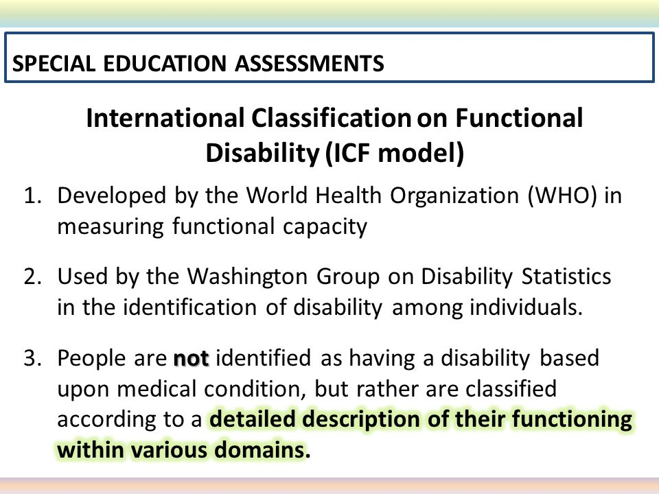International Classification on Functional Disability (ICF model)