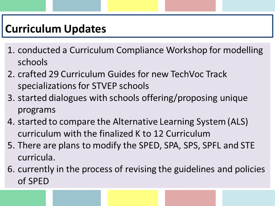 Curriculum Updates conducted a Curriculum Compliance Workshop for modelling schools.