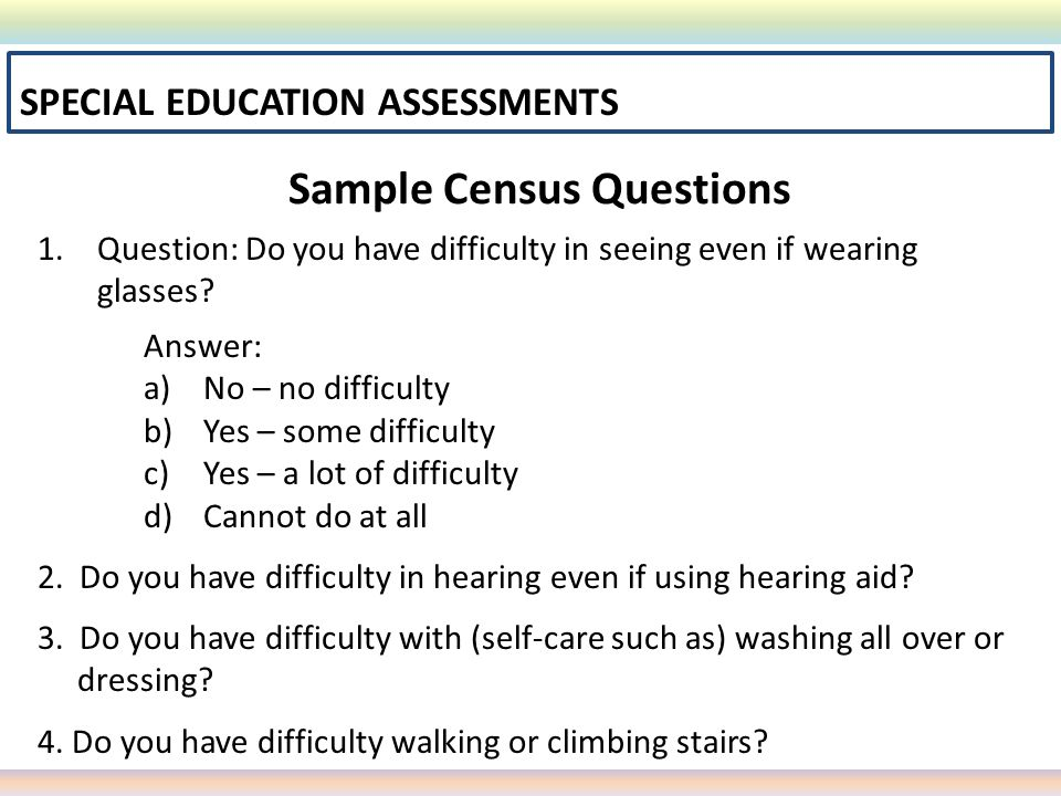Sample Census Questions