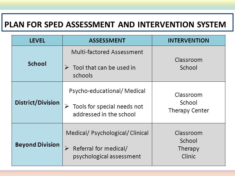PLAN FOR SPED ASSESSMENT AND INTERVENTION SYSTEM