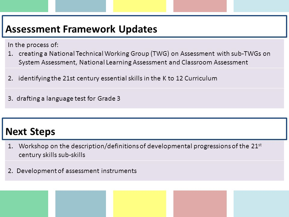 Assessment Framework Updates