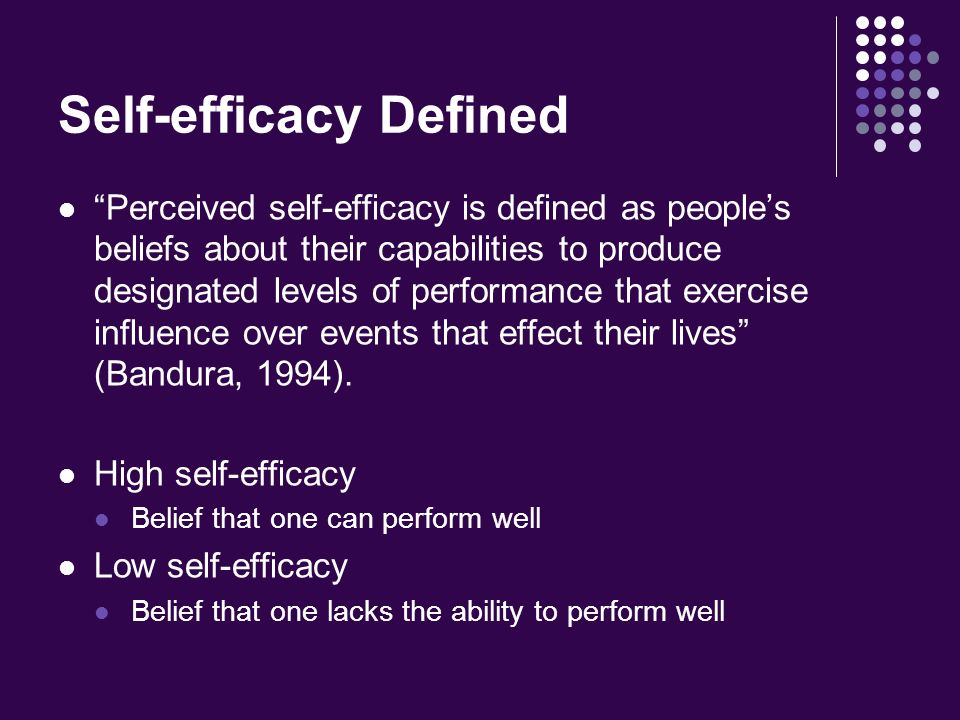 Attractive Self Efficacy Defined
