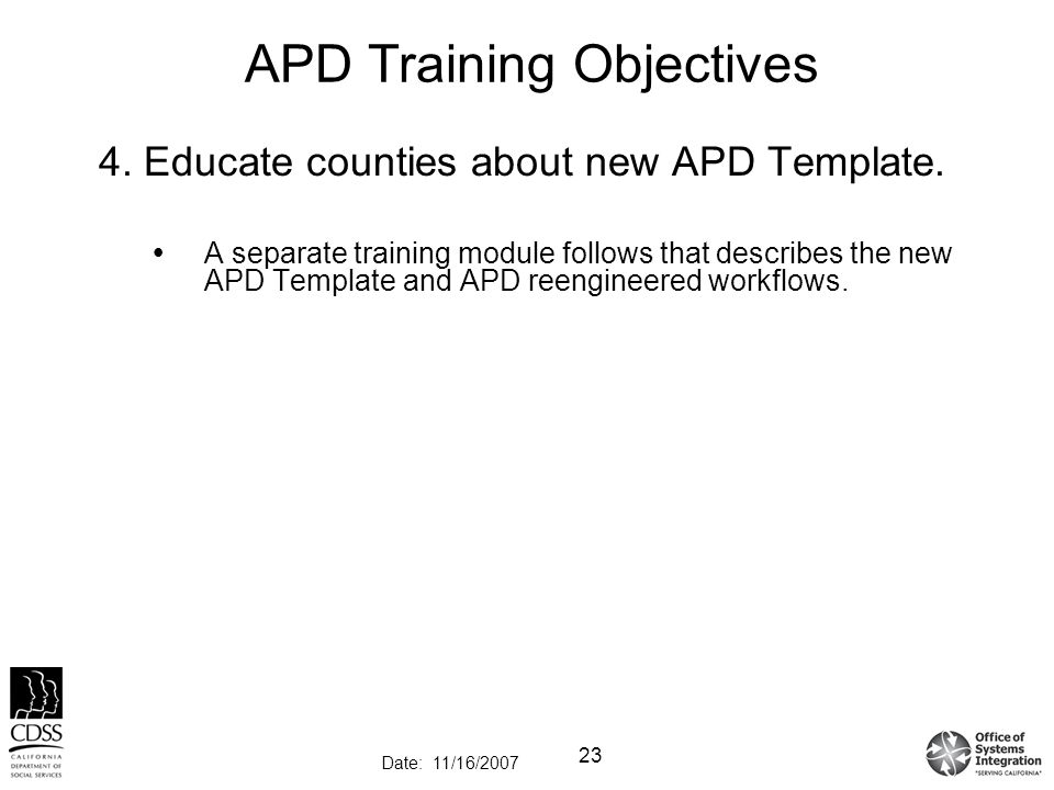 County apd process training ppt video online download apd training objectives pronofoot35fo Choice Image