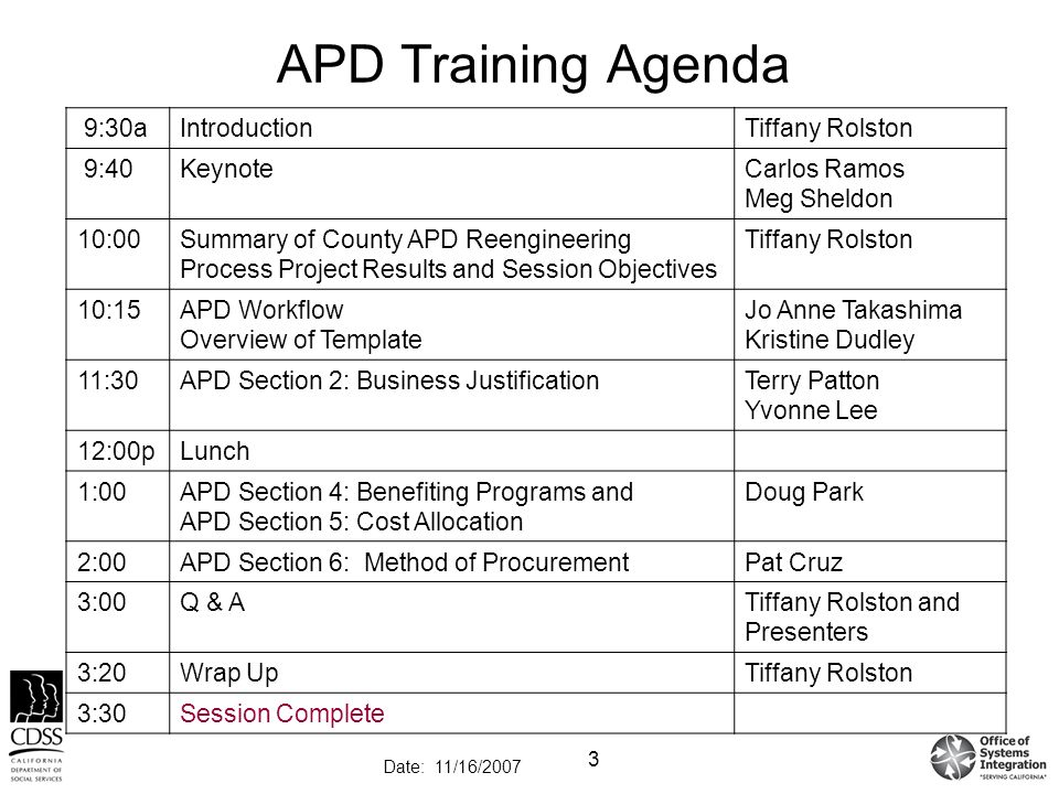 Training Agenda Template Apd Training Agenda A Introduction Tiffany