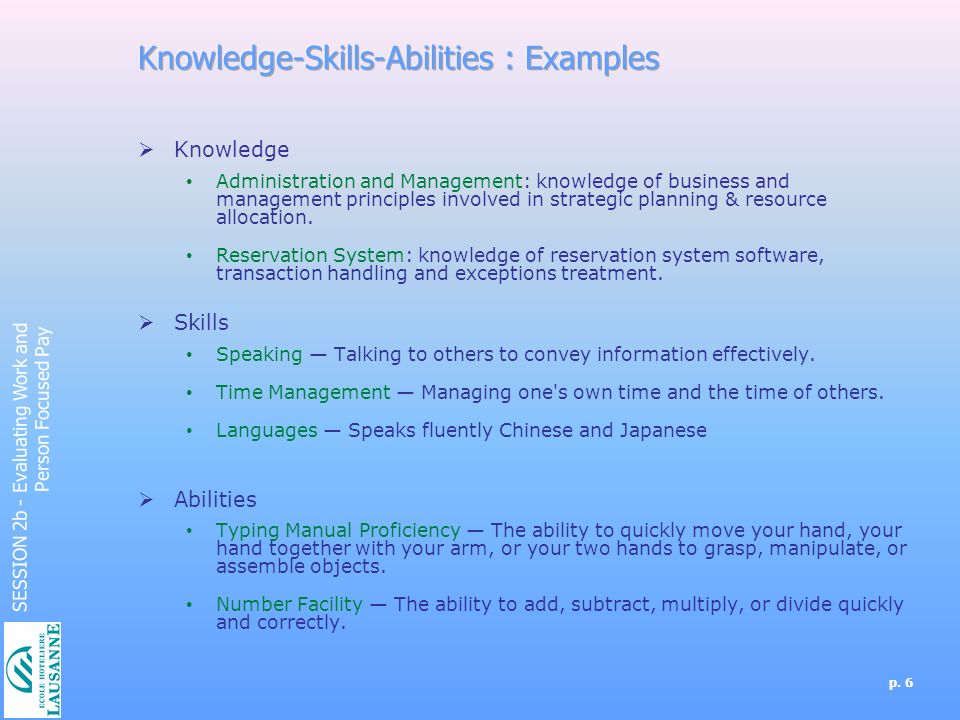 skills and abilities examples