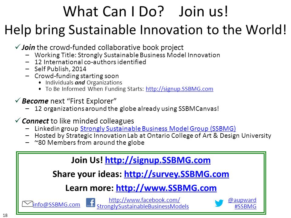 What Can I Do Join us! Help bring Sustainable Innovation to the World!