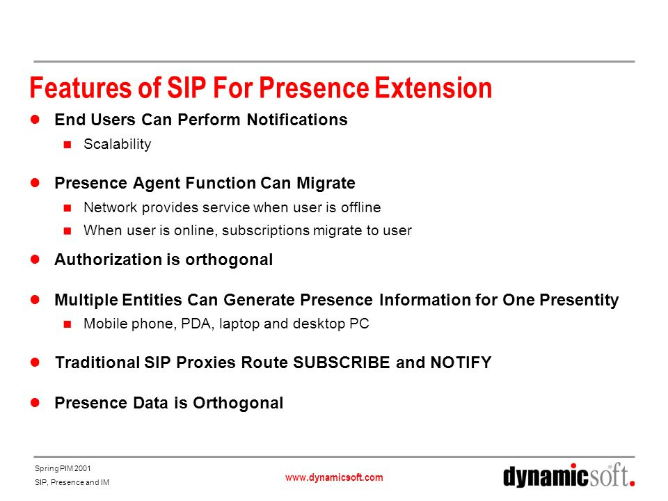 Features of SIP For Presence Extension