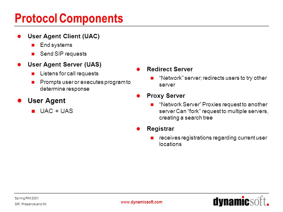 Protocol Components User Agent User Agent Client (UAC)