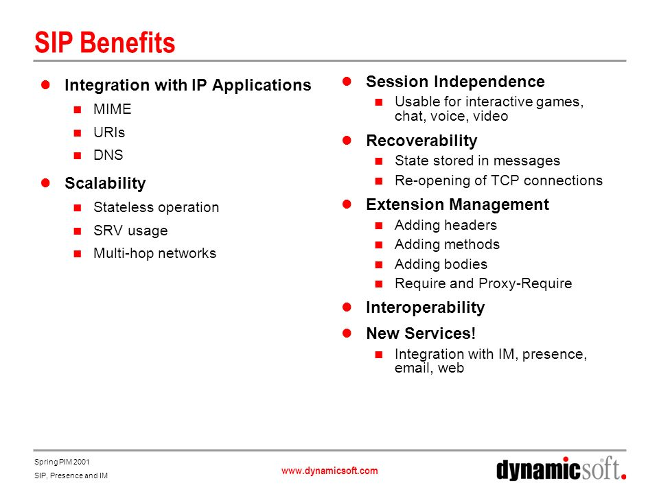 SIP Benefits Integration with IP Applications Scalability