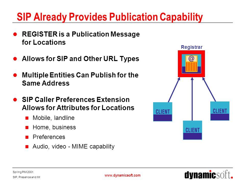SIP Already Provides Publication Capability