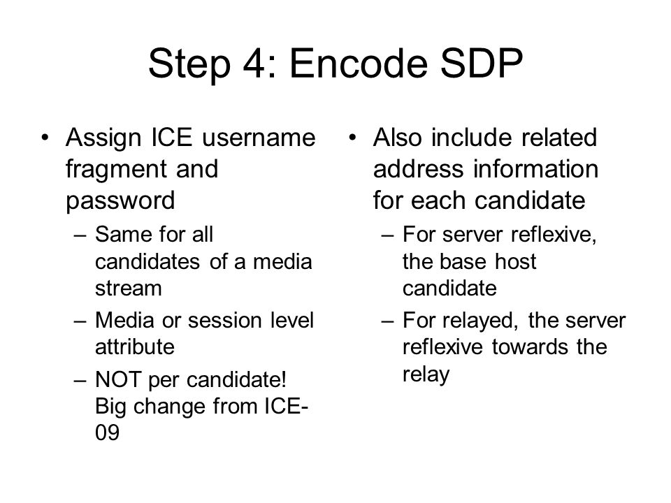 Step 4: Encode SDP Assign ICE username fragment and password