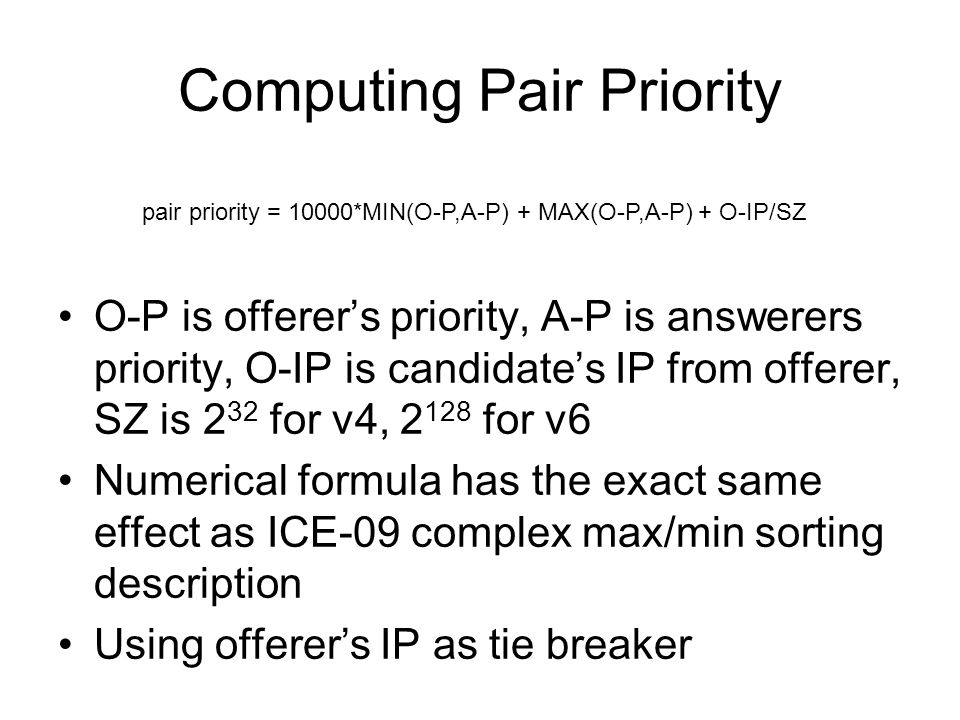 Computing Pair Priority