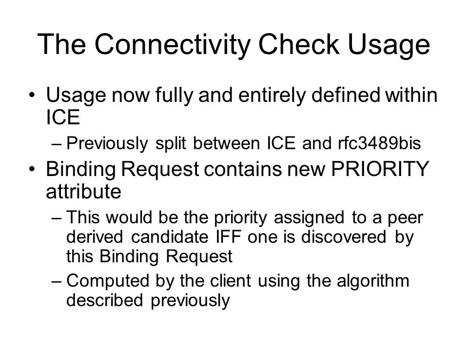 The Connectivity Check Usage