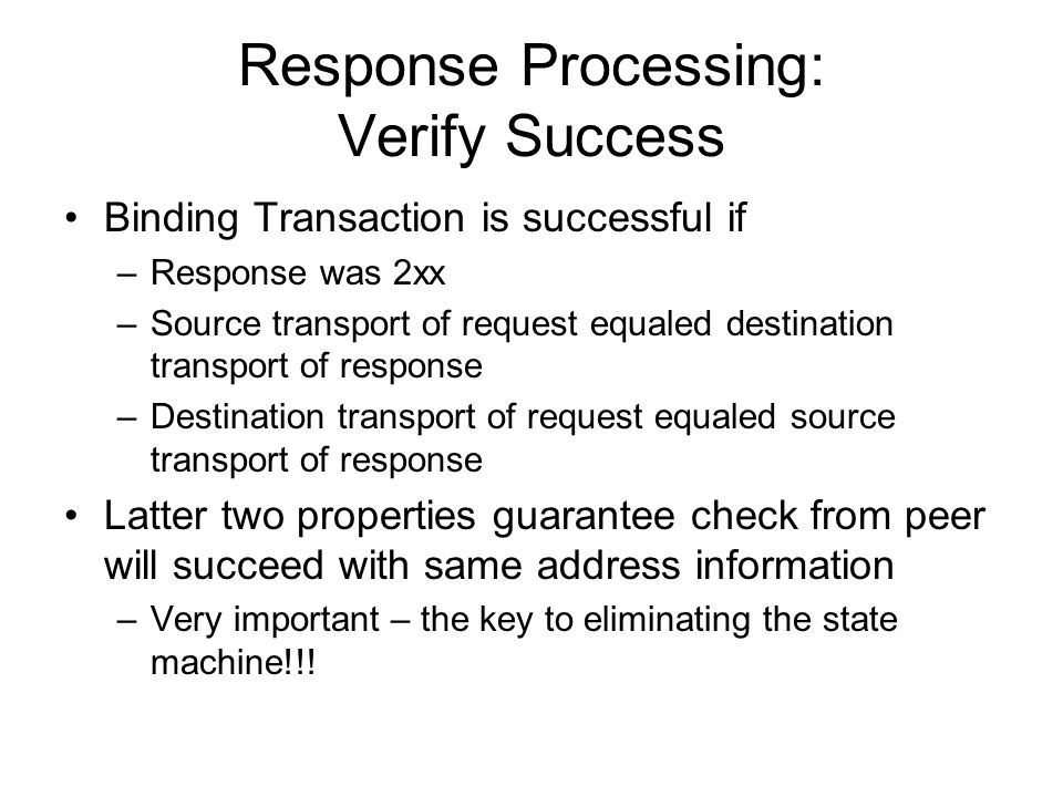 Response Processing: Verify Success